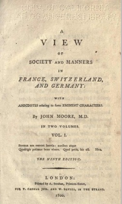 Book cover A view od society and manners